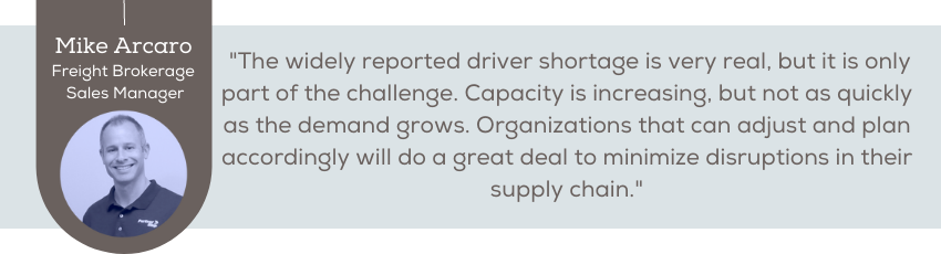 The widely reported driver shortage is very real, but it is only part of the challenge. Capacity is increasing, but not as quickly as the demand grows. Organizations that can adjust and plan accordingly will do a great deal to minimize disruptions in their supply chain.