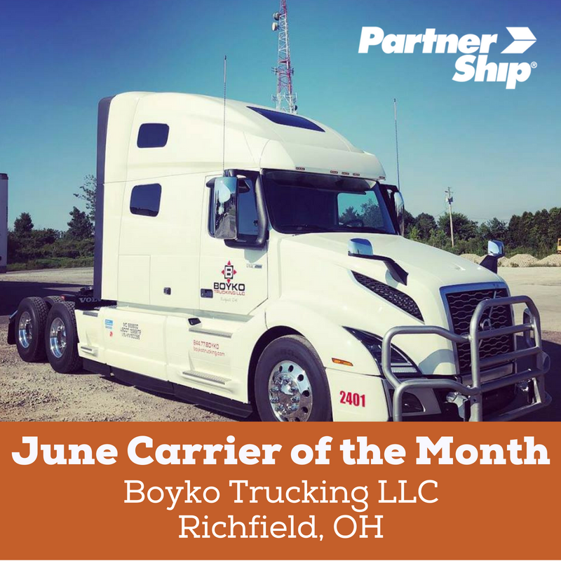 PartnerShip Loves Our Carriers! Here is Our June 2018 Carrier of the Month