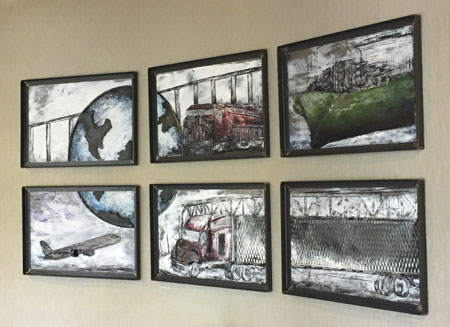 A six-panel artwork made of steel and encaustic wax that shows the main modes of transportation.